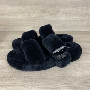 New UGG Black Fur FUZZ YEAH Shearling Sandals